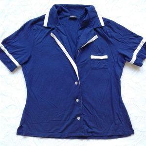 Cosabella Top Pajama Sleep Blue White Short Sleeve